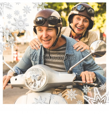 happy, mature, couple, riding, a, scooter - 13671396