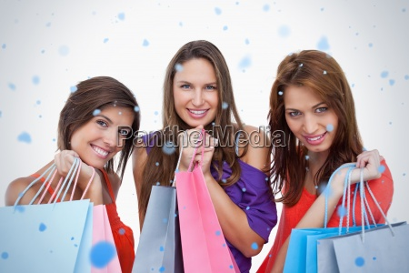 teenage girls proudly coming back from