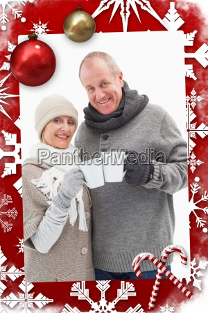 composite image of happy mature couple