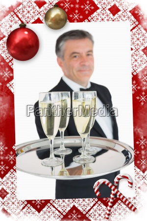 composite image of waiter holding out