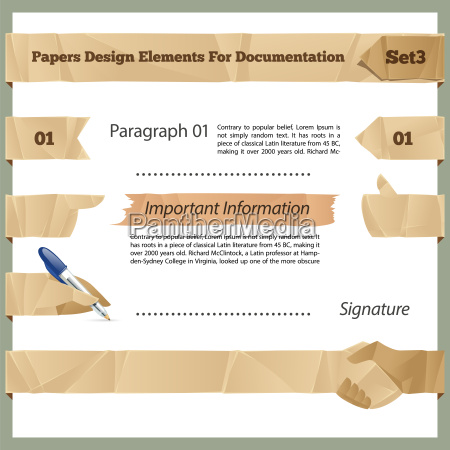 crumpled paper design elements for documentation