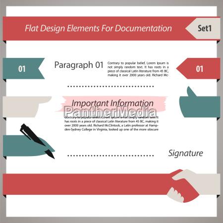 flat design elements for documentation set1