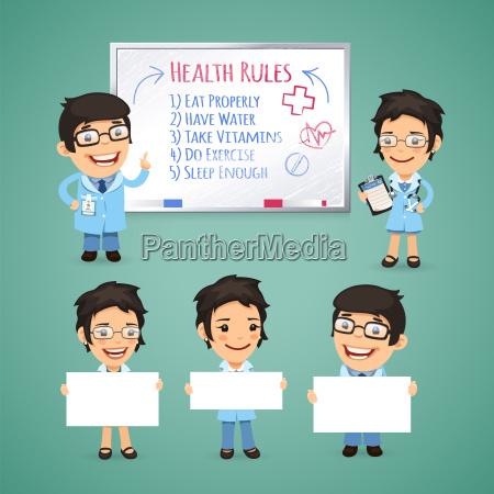 doctors presenting empty banners