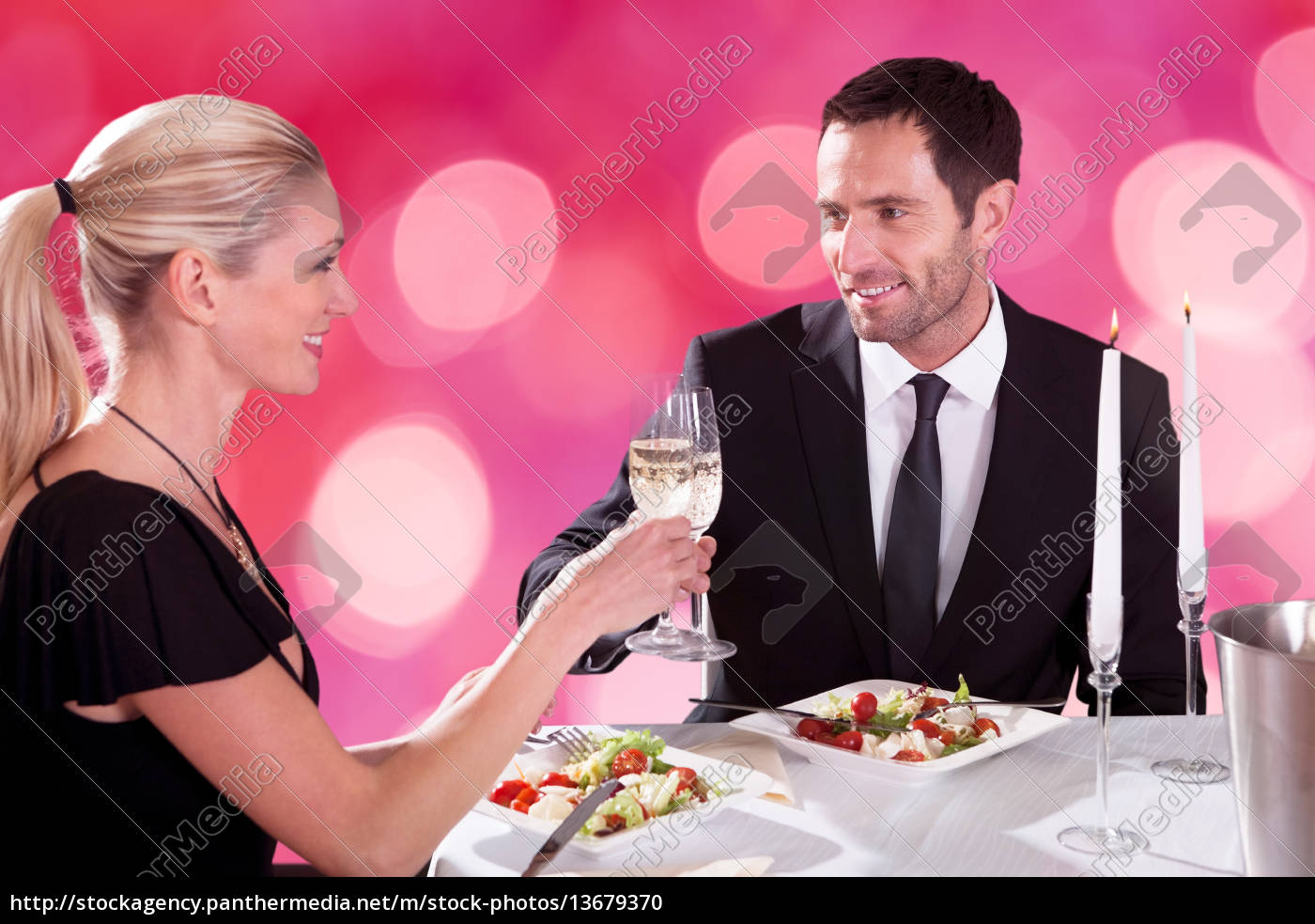 romantic, couple, toasting, each, other - 13679370