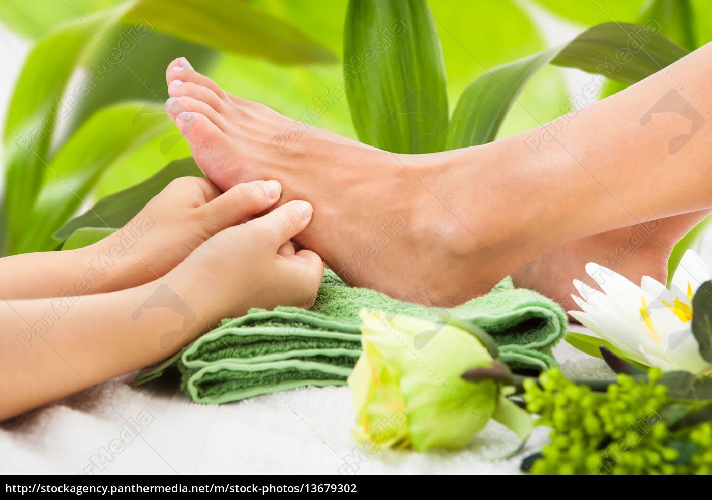 woman, feet, undergoing, massage - 13679302