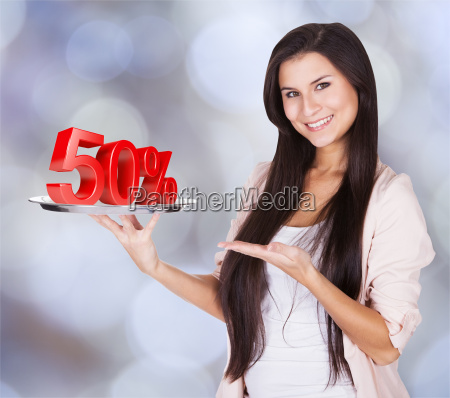 woman, presenting, 50%, discount, on, silver - 13679328