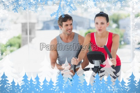 woman with male instructor working out
