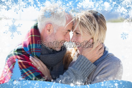 happy married couple embracing on the