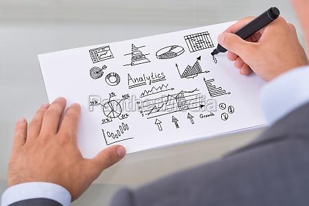 businessman preparing analytical diagrams