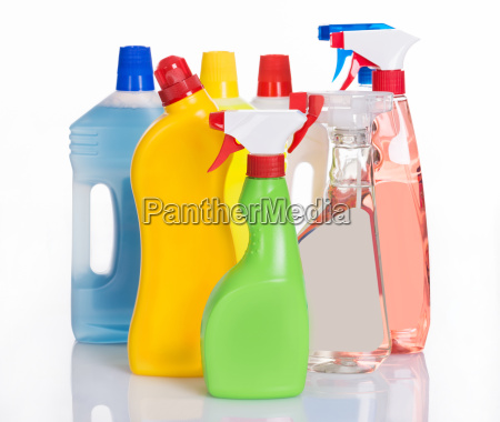 bottles with cleaning detergents