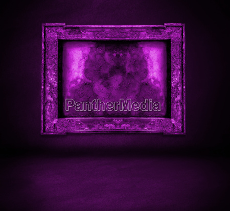 dark purple wall with frame and