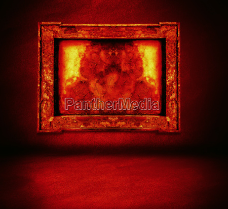 dark fire wall with frame and