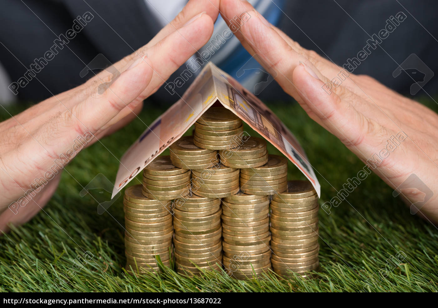 businessman, shielding, house, of, coins, and - 13687022