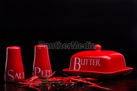 red salt cellar pepper box butter