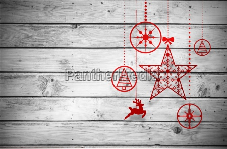 composite image of hanging red christmas