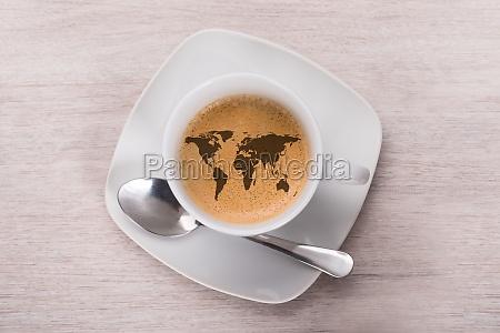 caffe con mappa del mondo
