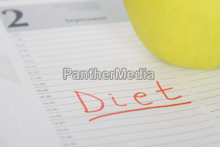 diet word and apple on diary