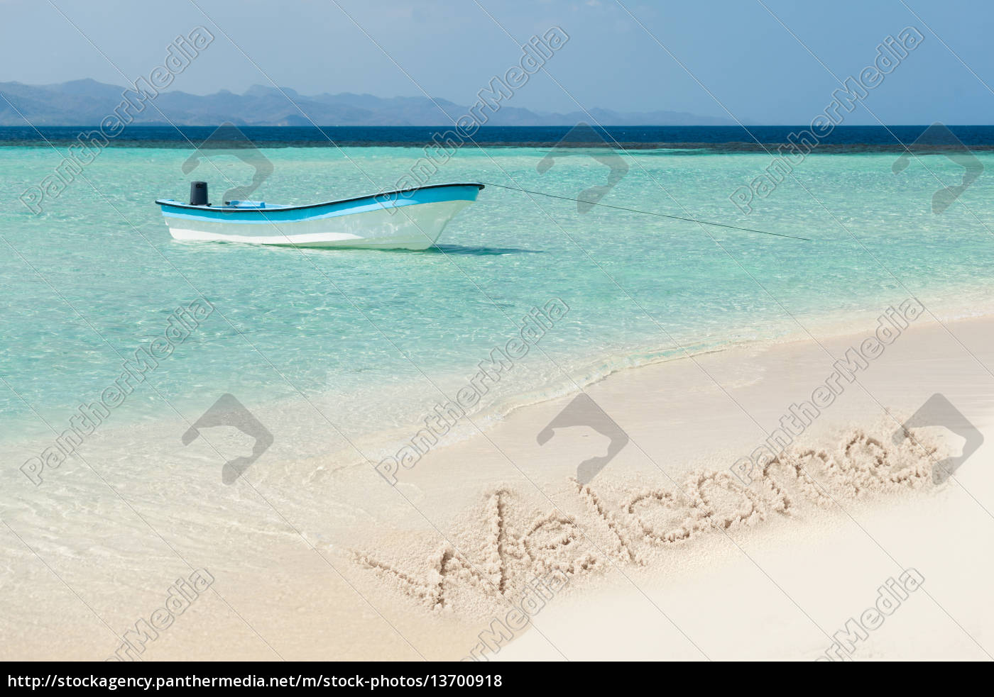 boat, moored, in, sea, at, beach - 13700918