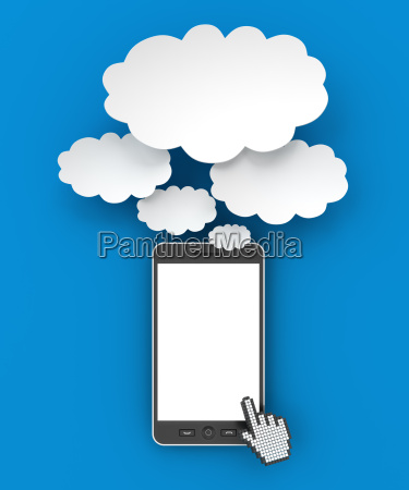 smartphone and thought bubbles with copyspace