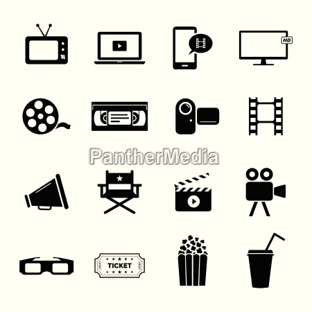 conjunto de icones planos pretos relacionados