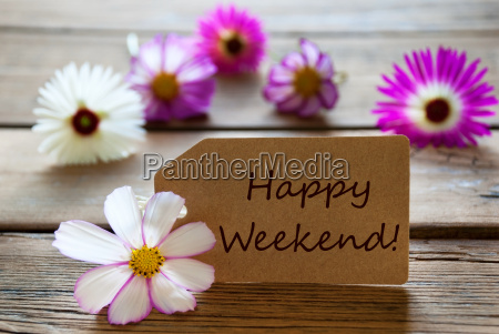 label with text happy weekend with