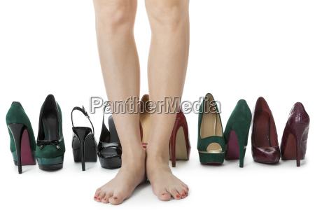 different pairs of high heels stilettos