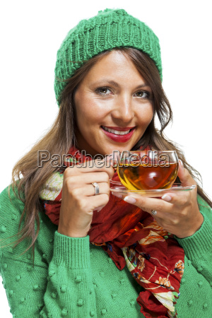 attractive, woman, with, green, wool, hat - 13708350