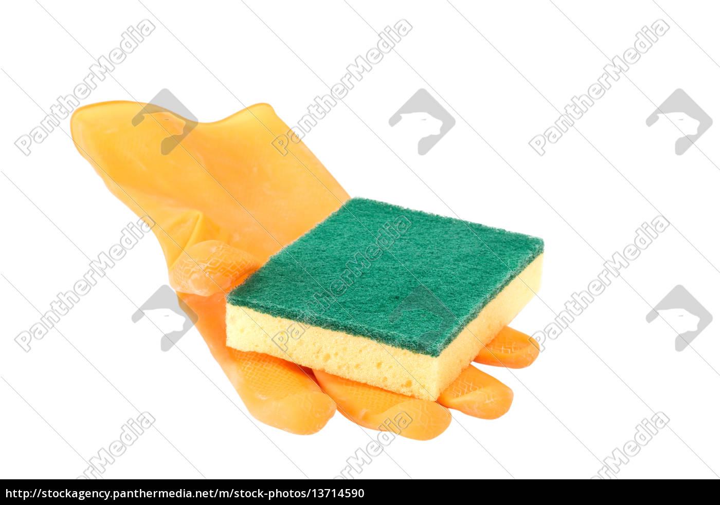 scrubbing, sponge, on, rubber, glove - 13714590