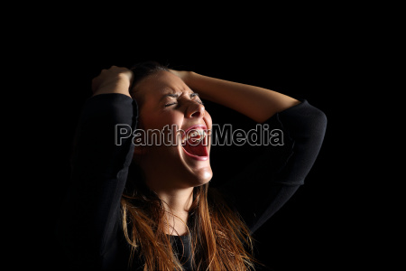 depressed woman crying and shouting desperate