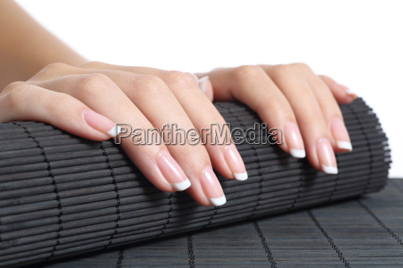 woman hands with french manicure ready
