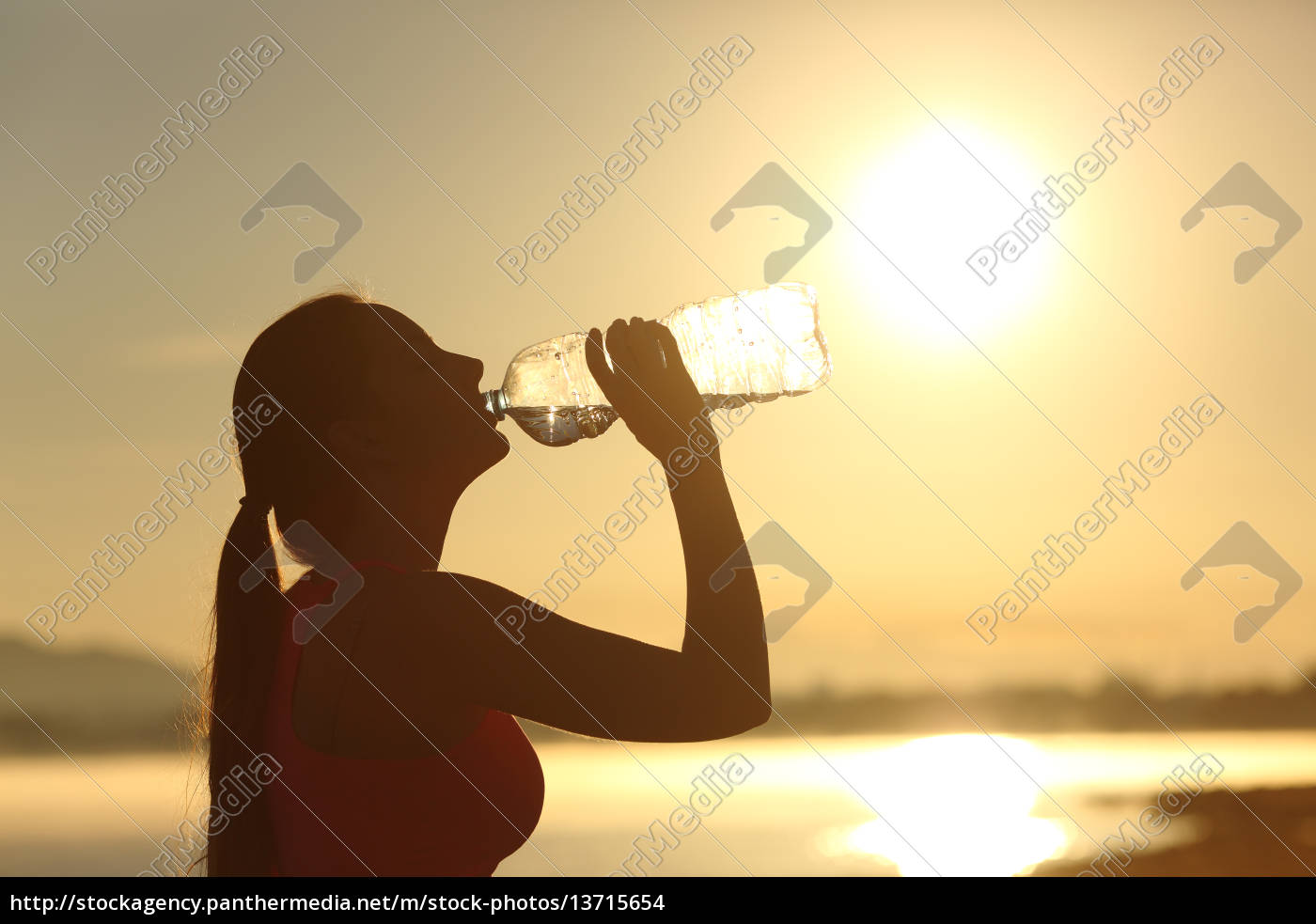 fitness, woman, silhouette, drinking, water, from - 13715654
