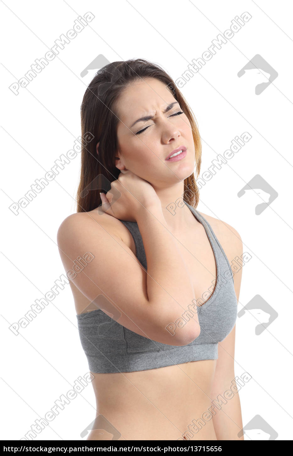 fitness, woman, with, neck, pain, pressing - 13715656