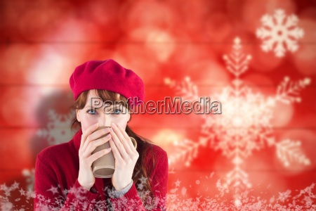 composite image of woman drinking from