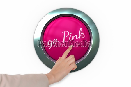 hand pressing pink button for breast