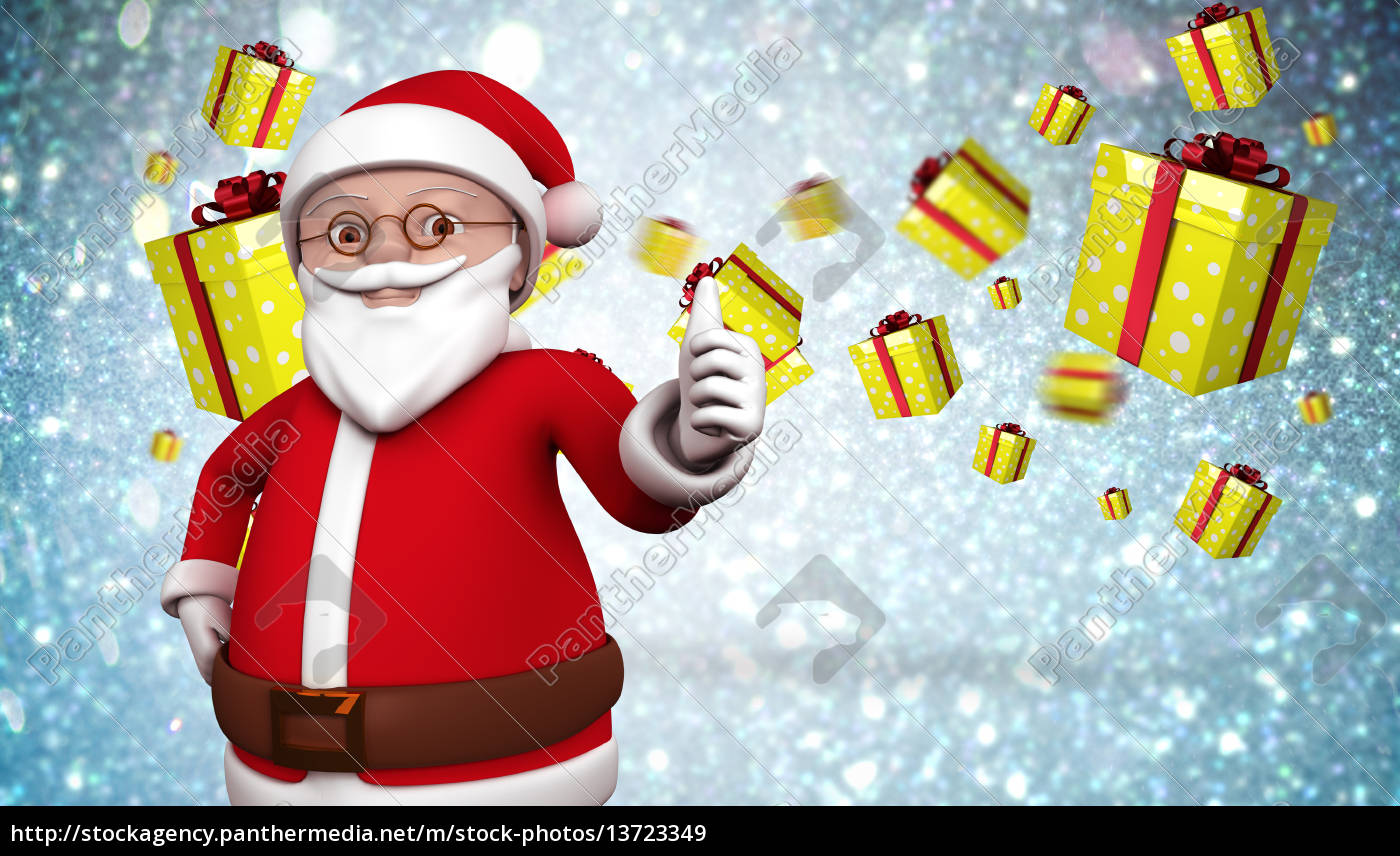 composite, image, of, cute, cartoon, santa - 13723349