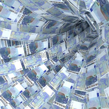 money swirls from 20 euro notes
