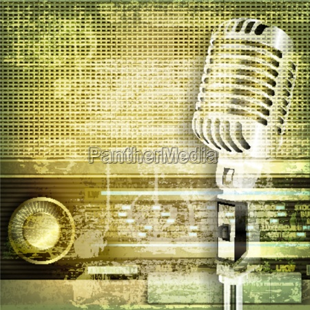 abstract sound grunge background with microphone