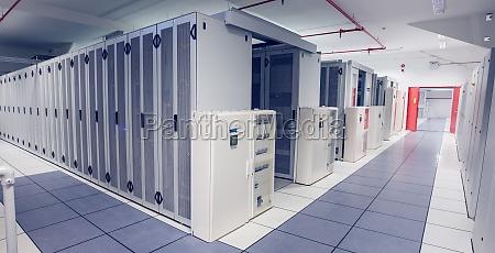 empty hallway of server towers