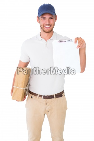 happy delivery man holding cardboard box