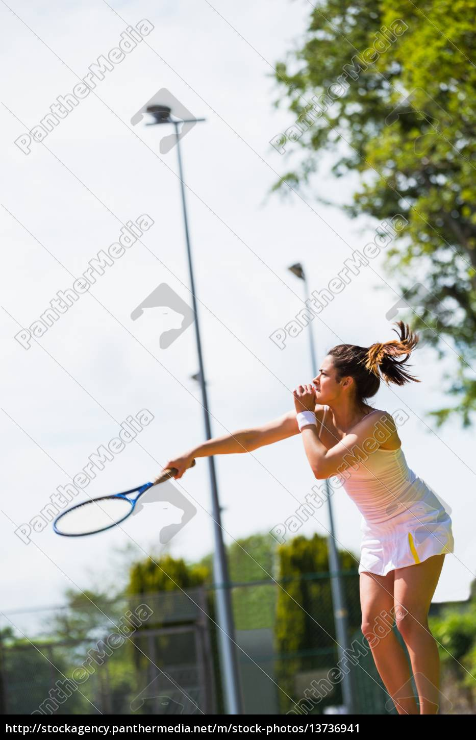 pretty, tennis, player, about, to, serve - 13736941