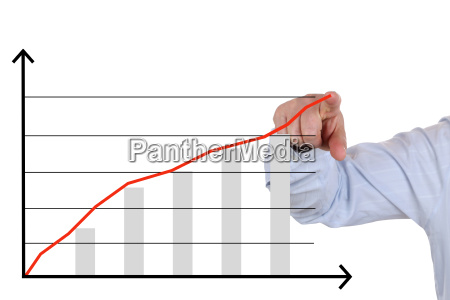 businessman in pointing to a business
