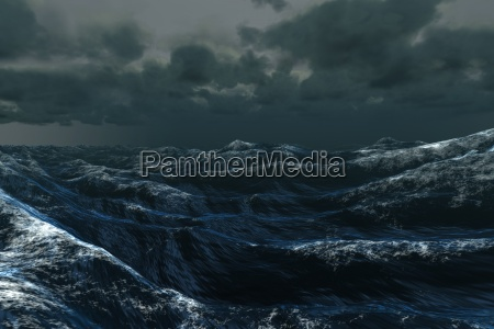 rough blue ocean under dark sky