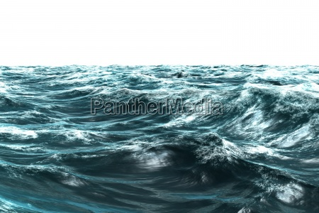 digitally generated stormy blue sea
