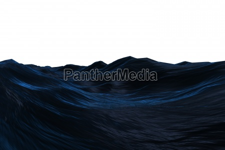 digitally generated dark blue rough ocean