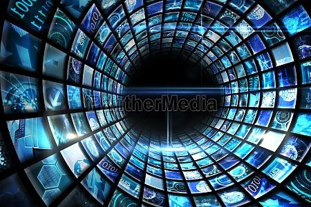 vortex of digital screens in blue