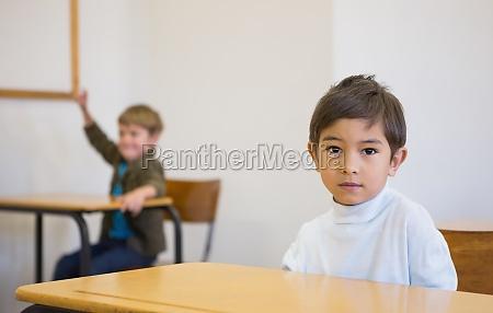 pupil looking at camera at his