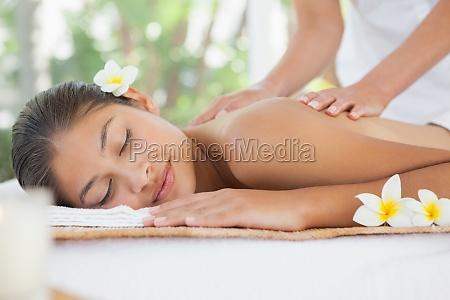 beautiful, brunette, enjoying, a, shoulder, massage - 13742761