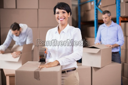 warehouse, workers, packing, up, boxes - 13744341