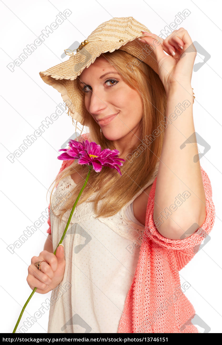 young, funky, girl, with, flower - 13746151
