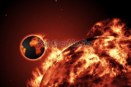 large fire ball of the sun